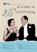 Jelly n Bean Silver 25th Anniversary Invitations - Pack of 20